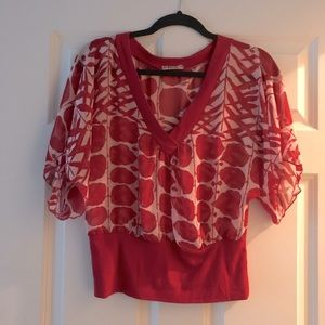 Red and white F21 flowy sheer floral crop top